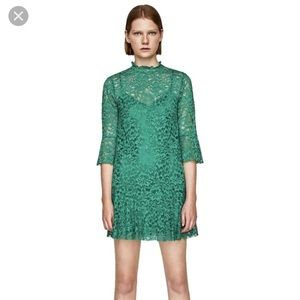 Zara Green Lace Cocktail Dress